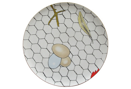 Glazed Fornasetti-Style Wall Plate
