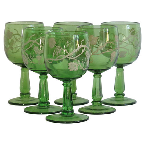 Green Grecian-Style Cordial Glasses, S/6