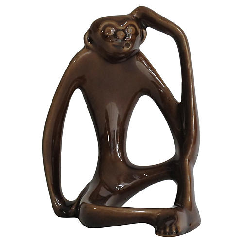 Modernist Ceramic Monkey Figurine