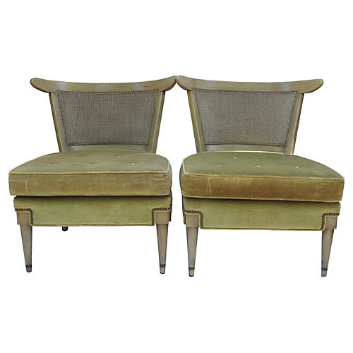 Cane & Velvet Slipper Chairs, Pair