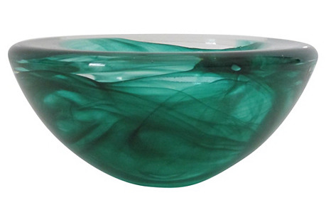 Green Glass Catchall, Large