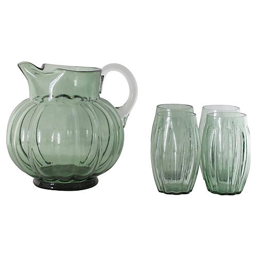 Green Pitcher w/ Glasses, 5 Pcs