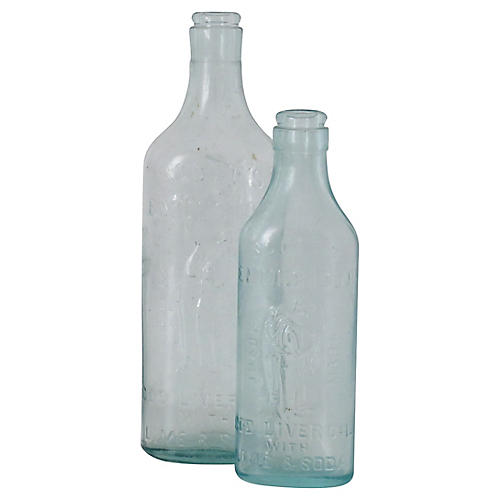 Cod Liver Oil Bottles, Pair