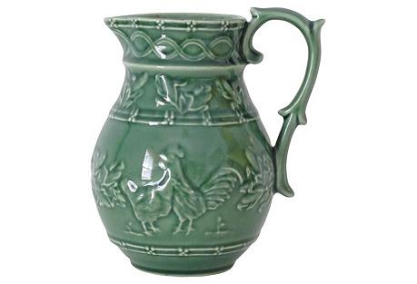 Green Majolica Ewer