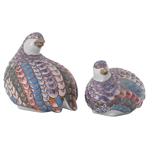 Ceramic Partridges, Pair