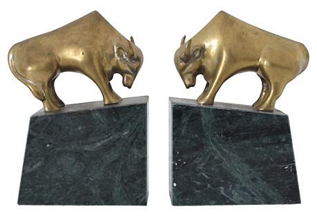 Brass & Marble Bulls, Pair