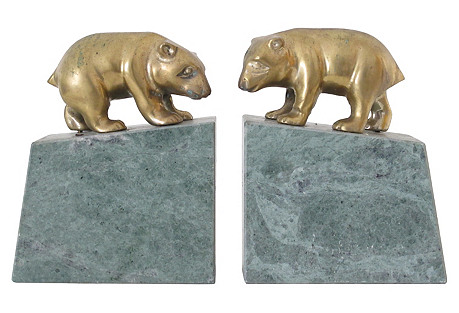 Marble & Brass Bears, Pair