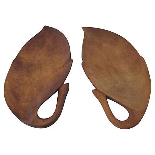 Midcentury Leaf Serving Plates, Pair