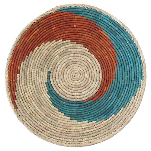 Turquoise & Red Swirl Basket