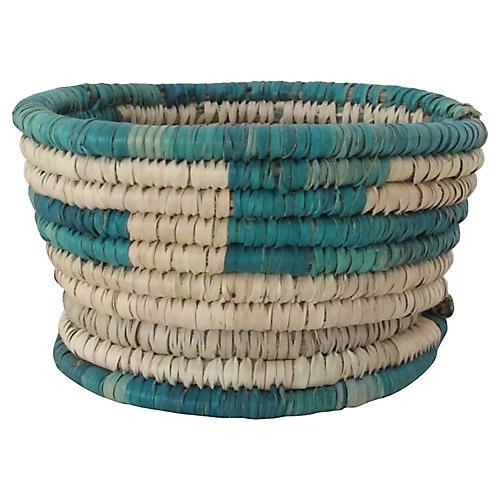 Turquoise Block Basket w/ Base