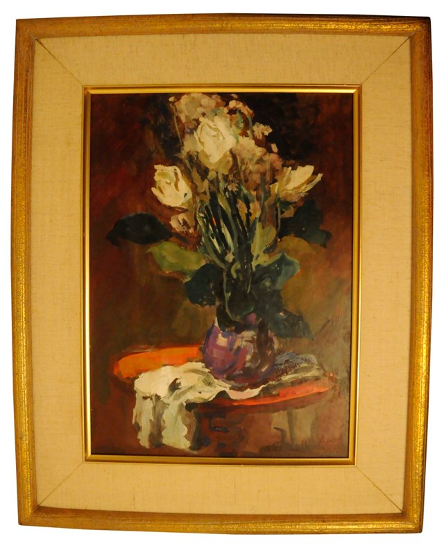 Floral Still Life on Red Table