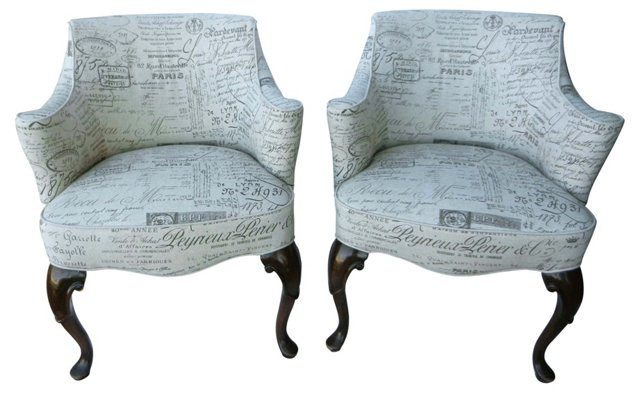 Chairs w/ French Script, Pair
