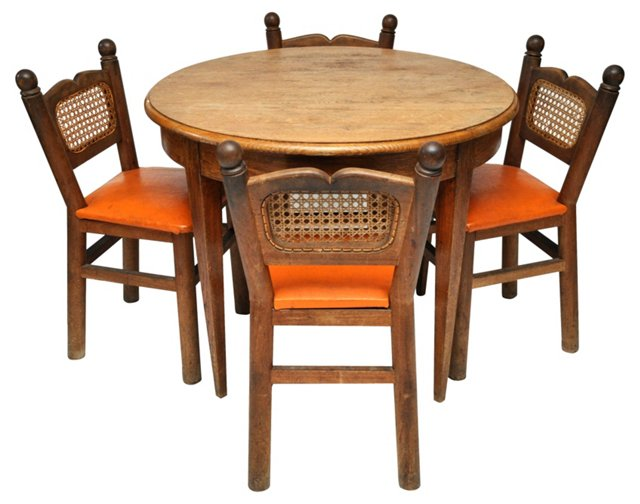 French Dining Table & Chairs, S/4