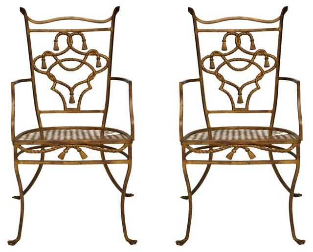 French Iron Garden Chairs, Pair