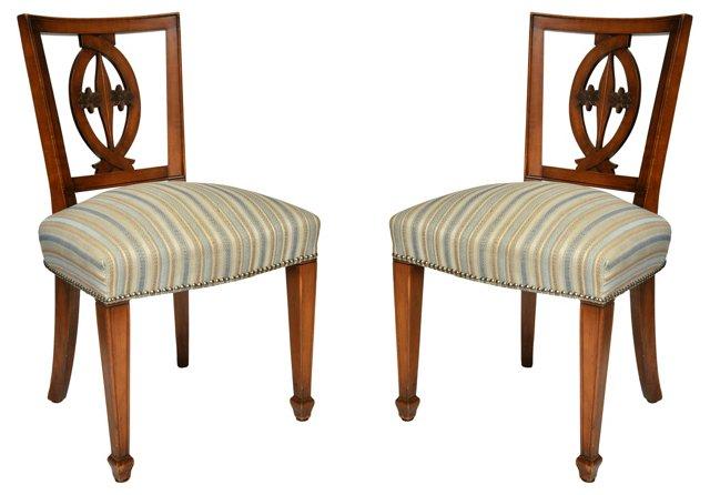 Italian Fruitwood Side Chairs, Pair