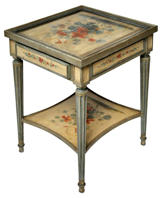 19th-C. French  Hand-Painted Table