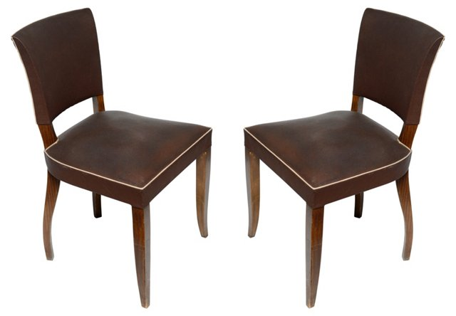 1940s French Side Chairs, Pair