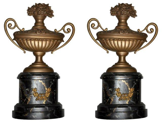 Bronze & Wood Wall Urns, Pair