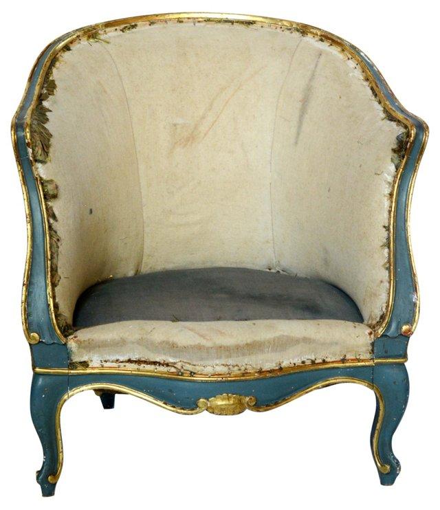 Italian Gilt Blue Armchair
