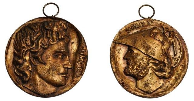 Roman Coin Plaques, Pair