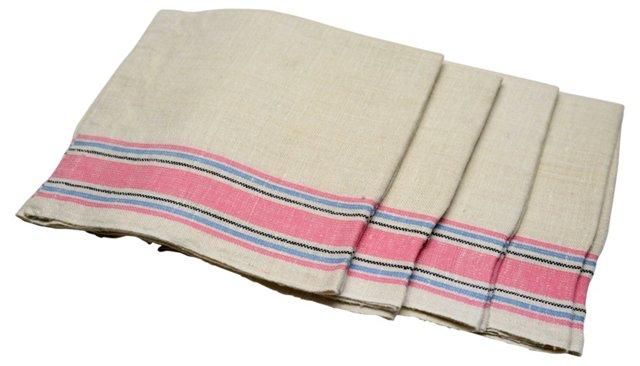 Antique Linen Dish Towels, Set of 4