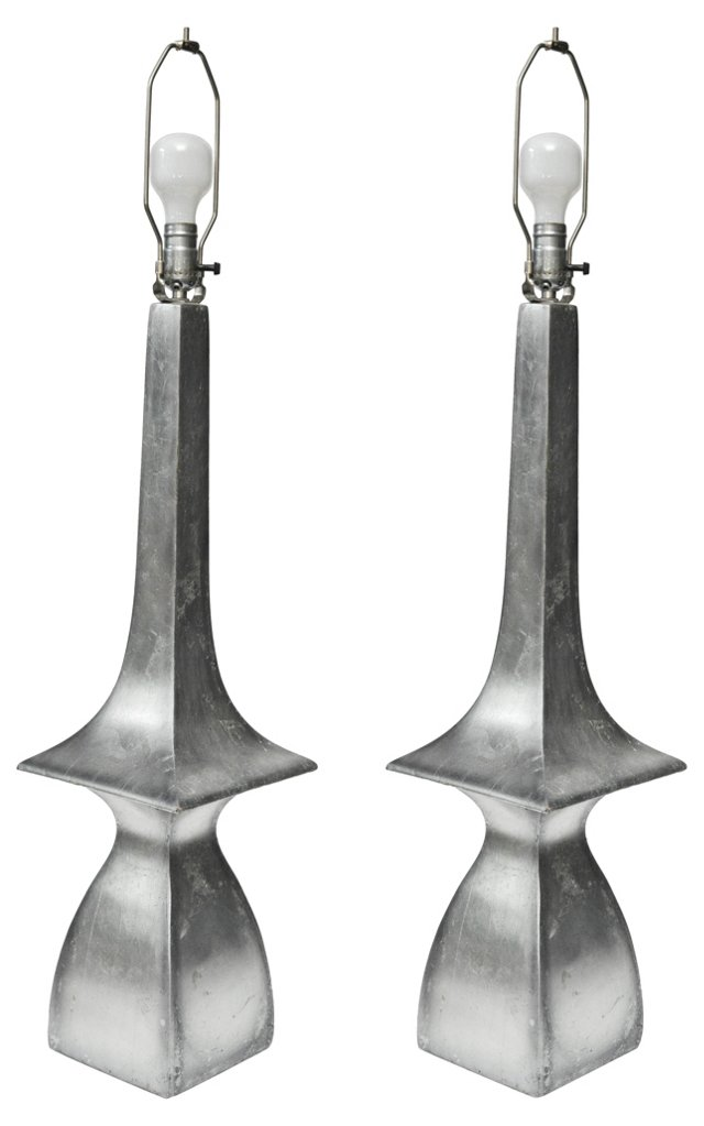 Silver Pagoda-Style Lamps, Pair