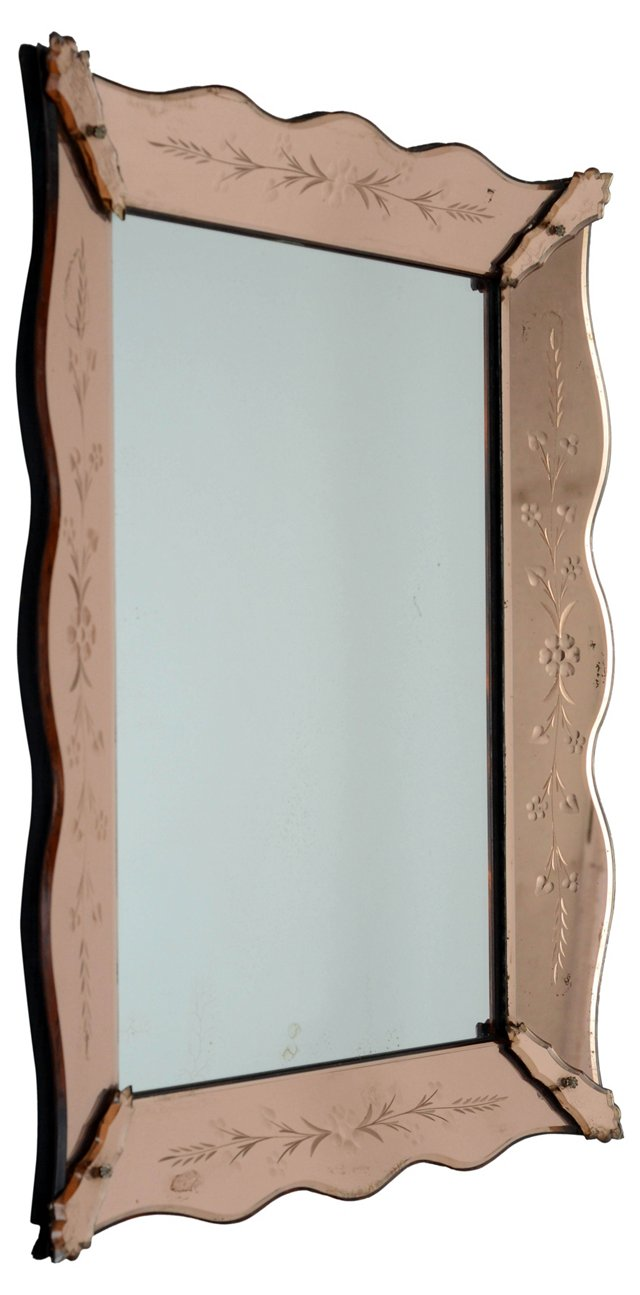 French Etched Pink  Scalloped Mirror