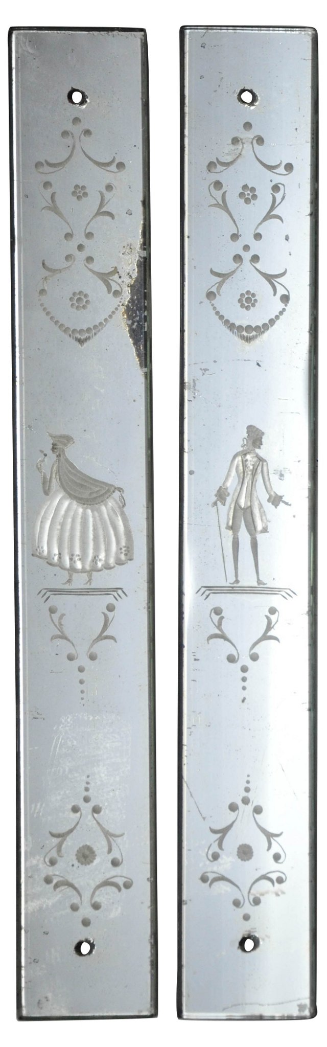 French Etched Glass Plates, Pair