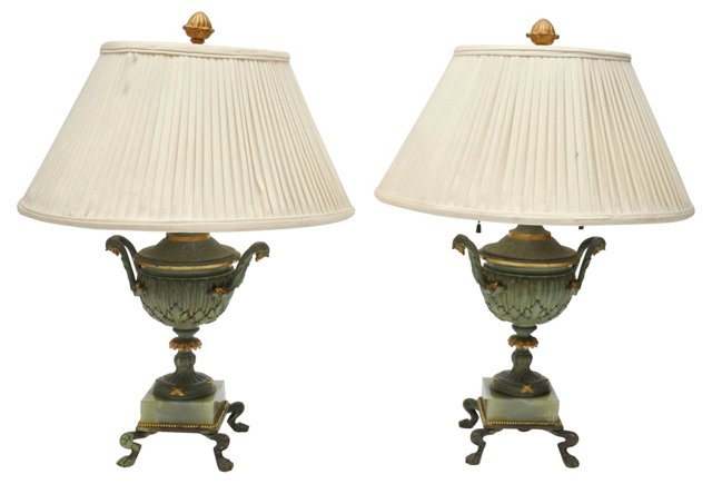 French Bronze Lamps, Pair