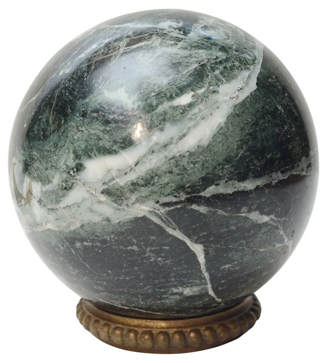 Italian Green Marble Ball on Ring