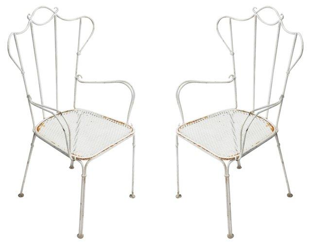 French Garden Armchairs, Pair