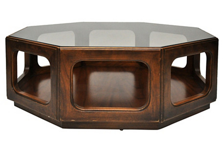 Octagonal Wood & Glass Coffee Table