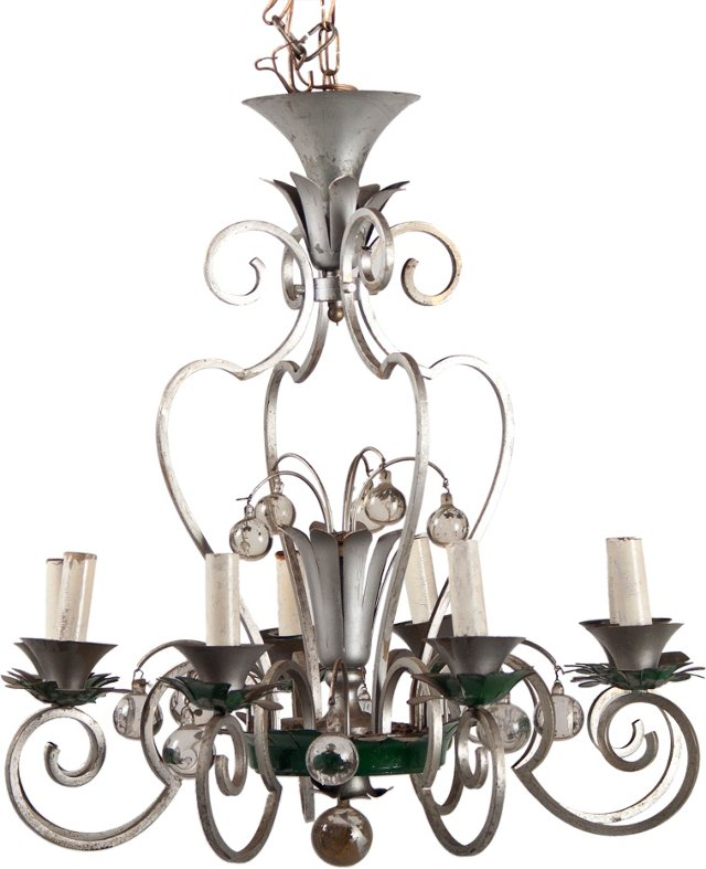 8-Arm French Wrought Iron Chandelier