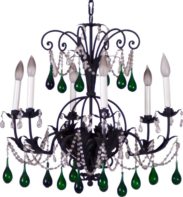 Wrought Iron Chandelier w/ Green Drops