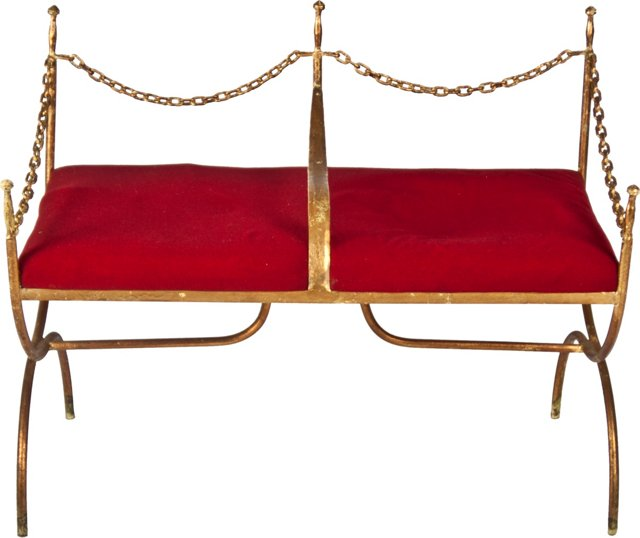 Italian Gilt Iron Bench