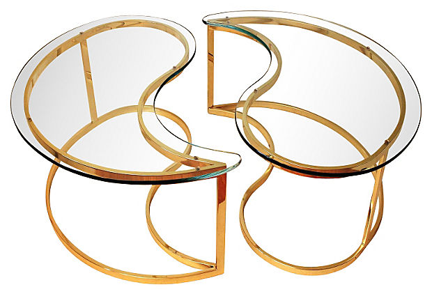 Yin Yang Brass Coffee Tables, Pair
