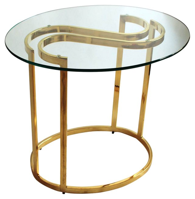Glass Accent Table w/ Curved Base