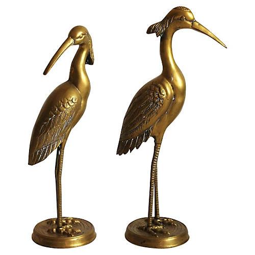Hollywood Regency Brass Cranes, Pr
