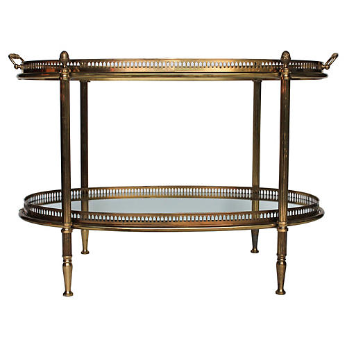 Brass & Glass Serving Tray Table