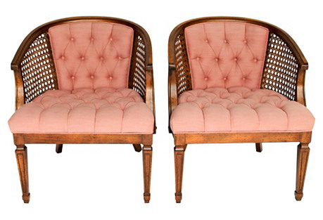 Tufted Accent Chairs, Pair