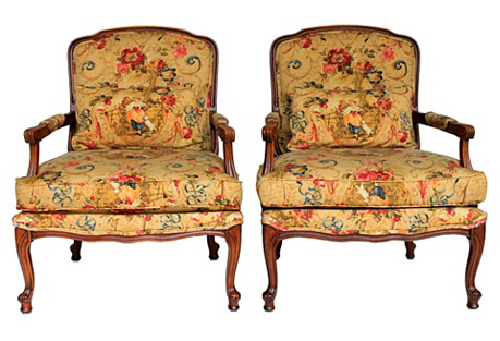 Upholstered Fauteuils, Pair