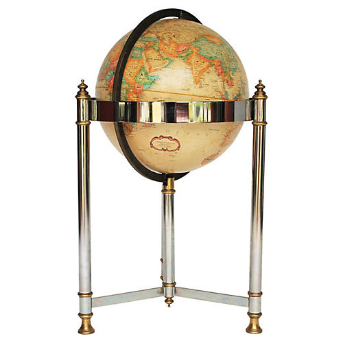 Brass & Chrome Replogle Floor Globe