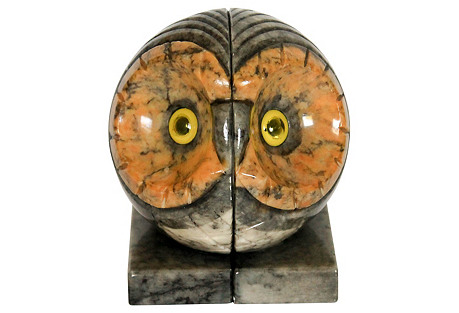 Italian Marble Owl Bookends, S/2