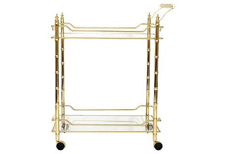 Faux-Bamboo Brass & Glass Bar Cart