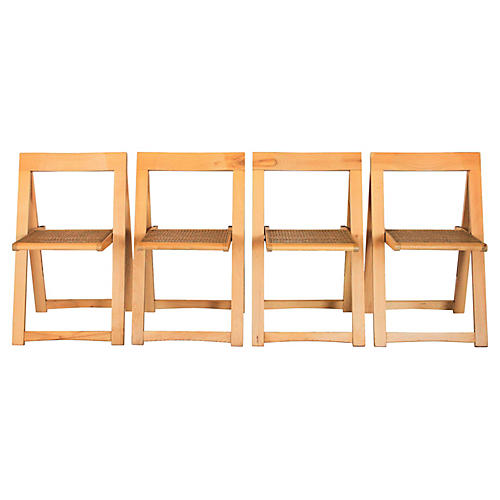 Caned Folding Chairs, S/4