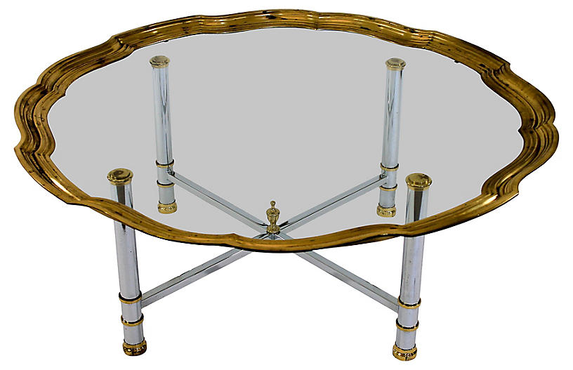 Coffee Table w/ Scalloped Brass Edge