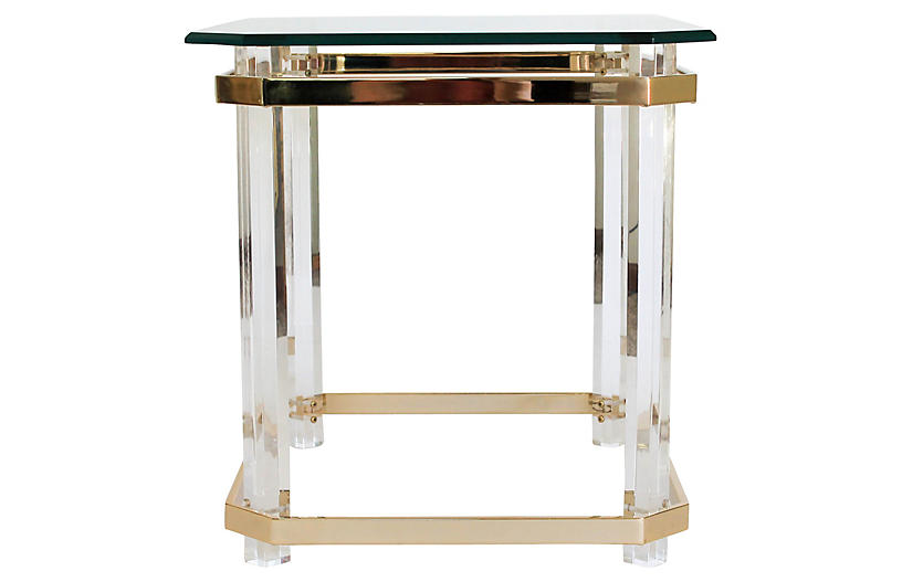 Lucite & Brass Side Table