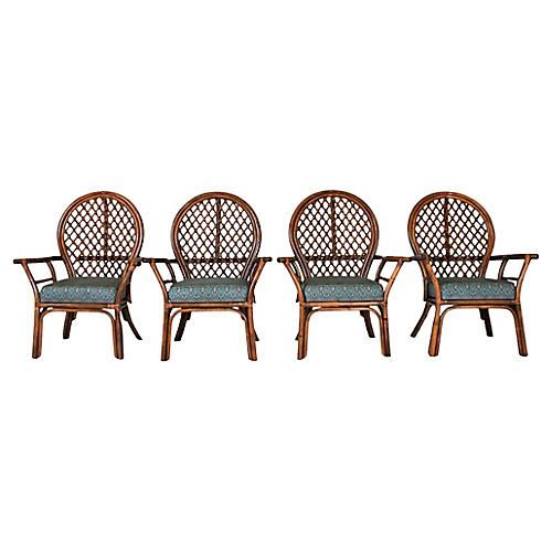 Fan-Back Rattan Dining Chairs, S/4