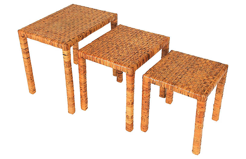 Rattan-Wrapped Nesting Tables, S/3