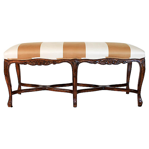 French Upholstered Walnut Bench